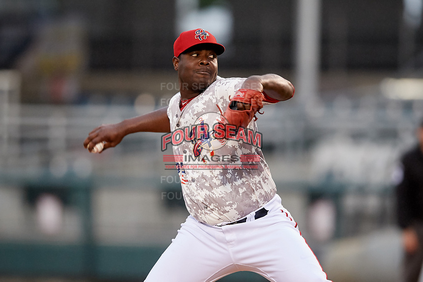 Harrisburg Senators relief pitcher Roman Mendez (32) delivers a pitch during the second game of a doubleheader against the New Hampshire Fisher Cats on May 13, 2018 at FNB Field in Harrisburg, Pennsylvania.  Harrisburg defeated New Hampshire 2-1.  (Mike Janes/Four Seam Images)