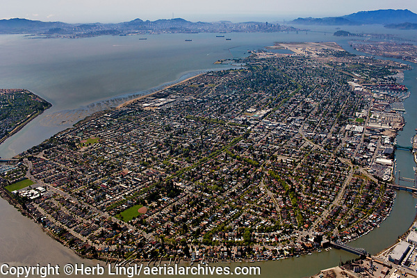 aerial photograph of Alameda Island, Alameda County, California, San Francisco and the Marin Headlands in the background