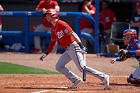 Washington Nationals Trea Turner (7) bats during a Major League Spring Training game against the New York Mets on March 18, 2021 at Clover Park in St. Lucie, Florida.  (Mike Janes/Four Seam Images)