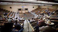 A cattle auction in Dodge City, Kansas. This region employs a large percentage of its population in the beef rearing industry.