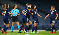 21st September 2021; Hampden Park, Glasgow, Scotland: FIFA Womens World Cup qualifying, Scotland versus Faroe Islands; Martha Thomas of Scotland celebrates with her team mates after she makes it 5-1 in the 61st minute