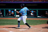 Erie SeaWolves Kody Eaves (22) hits a triple during an Eastern League game against the Akron RubberDucks on June 2, 2019 at UPMC Park in Erie, Pennsylvania.  Erie defeated Akron 8-5 in eleven innings in the second game of a doubleheader.  (Mike Janes/Four Seam Images)