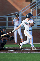 Ryne Birk (4) of the Buies Creek Astros follows through on his swing against the Wilmington Blue Rocks at Jim Perry Stadium on April 29, 2017 in Buies Creek, North Carolina.  The Astros defeated the Blue Rocks 3-0.  (Brian Westerholt/Four Seam Images)