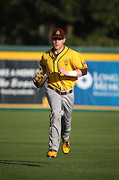 Andrew Shaps (16) of the Arizona State Sun Devils returns to the dugout during a game against the Long Beach State Dirtbags at Blair Field on February 27, 2016 in Long Beach, California. Long Beach State defeated Arizona State, 5-2. (Larry Goren/Four Seam Images)