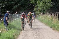 Sean De Bie (BEL/Lotto-Soudal) & CX world champion Wout Van Aert (BEL/Crelan-Vastgoedservice) side by side over the gravel<br /> <br /> 1st Dwars door het Hageland 2016<br /> (pics by Léon Van Bon)