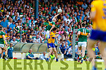 Ronan Shanahan Kerry in action against Conal O nAinfein Clare during the Munster GAA Football Senior Championship semi-final match between Kerry and Clare at Fitzgerald Stadium in Killarney on Sunday.