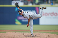 Charleston RiverDogs starting pitcher Ian Seymour (34) follows through on his delivery against the Kannapolis Cannon Ballers at Atrium Health Ballpark on July 1, 2021 in Kannapolis, North Carolina. (Brian Westerholt/Four Seam Images)