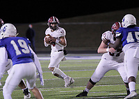 Springdale Bulldogs Junior Landon Phipps (5) steps back into the pocket while facing the Rogers Mountaineers Friday, October 16, 2020, at Whitey Smith Stadium, Rogers, Arkansas (Special to NWA Democrat-Gazette/Brent Soule)