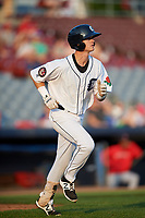 Connecticut Tigers third baseman Cam Warner (44) runs to first base during a game against the Lowell Spinners on August 26, 2018 at Dodd Stadium in Norwich, Connecticut.  Connecticut defeated Lowell 11-3.  (Mike Janes/Four Seam Images)