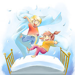 Illustration of happy children pillow fighting on bed