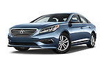 Stock pictures of low aggressive front three quarter view of 2017 Hyundai Sonata Eco 4 Door Sedan Low Aggressive