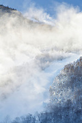 Franconia Notch State Park - Snow making at Cannon Mountains in the White Mountains, New Hampshire USA.