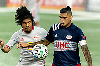 FOXBOROUGH, MA - AUGUST 29: Gustavo Bou #7 of New England Revolution attempts to control a throw in during a game between New York Red Bulls and New England Revolution at Gillette Stadium on August 29, 2020 in Foxborough, Massachusetts.