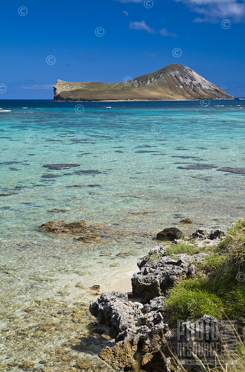Clear blue water over coral and sand, with a view of Rabbit Island