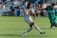 HARTFORD, CT - JULY 10: Omar Sowe #67 of New York Red Bulls II takes a shot during a game between New York Red Bulls II and Hartford Athletics at Dillon Stadium on July 10, 2021 in Hartford, Connecticut.