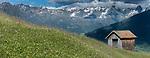 Alpine meadow and hay barn. Nordtirol, Austrian Alps, Austria, July 2015.
