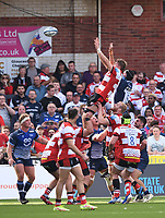 9th October 2021; Kingsholm Stadium, Gloucester, England; Gallagher Premiership Rugby, Gloucester versus Sale Sharks;  Freddie Clarke of Gloucester wins the lineout ball