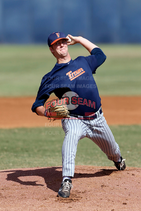 Bryan Conant of the Cal State Fullerton Titans pitches during a intrasquad game at Goodwin Field on October 13, 2013 in Fullerton, California. (Larry Goren/Four Seam Images)