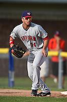 Auburn Doubledays first baseman Jose Marmolejos-Diaz (14) during a game against the Batavia Muckdogs on August 31, 2014 at Dwyer Stadium in Batavia, New York.  Batavia defeated Auburn 7-6.  (Mike Janes/Four Seam Images)