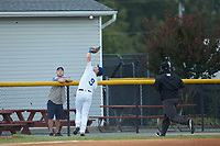 Burlington Royals third baseman Jake Means (9) chases down a pop fly as third base umpire Chandler Durham hustles to make the call during the game against the Johnson City Cardinals at Burlington Athletic Stadium on September 4, 2019 in Burlington, North Carolina. The Cardinals defeated the Royals 8-6 to win the 2019 Appalachian League Championship. (Brian Westerholt/Four Seam Images)