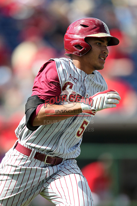 Florida State Seminoles outfielder Jose Brizuela #53 during a scrimmage against the Philadelphia Phillies at Brighthouse Field on February 29, 2012 in Clearwater, Florida.  Philadelphia defeated Florida State 6-1.  (Mike Janes/Four Seam Images)