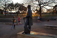 Gone 20 years, Stevie Ray Vaughan stands forever tall in Austin, Texas on the Lady Bird Lake Hike and Bike Trail.