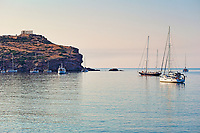 Ships at the temple of Poseidon (448–440 B.C.) in Sounio, Greece