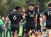 22nd May 2021; Grammar Tec, Auckland New Zealand; All Blacks Sevens versus Australia, Trans-Tasman Sevens;  Kitiona Vai celebrates his try with Vilimoni Koroi ( #6 )