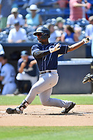Charleston RiverDogs Josh Stowers (21) swings at a pitch during a game against the Asheville Tourists at McCormick Field on August 18, 2019 in Asheville, North Carolina. The Tourists defeated the RiverDogs 6-5. (Tony Farlow/Four Seam Images)