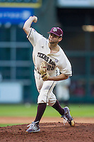 Texas A&M Aggies pitcher Mark Ecker (28) delivers a pitch to the plate during Houston College Classic against the Nebraska Cornhuskers on March 6, 2015 at Minute Maid Park in Houston, Texas. Texas A&M defeated Nebraska 2-1. (Andrew Woolley/Four Seam Images)