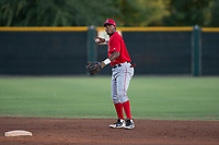 AZL Angels second baseman Jose Verrier (4) prepares to make a throw to first base during an Arizona League game against the AZL Giants Black at the San Francisco Giants Training Complex on July 1, 2018 in Scottsdale, Arizona. The AZL Giants Black defeated the AZL Angels by a score of 4-2. (Zachary Lucy/Four Seam Images)