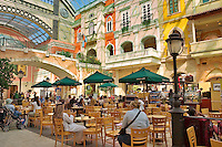 .Dubai. United Arab Emirates. Mercato Shopping Mall, interior. Cafe? and shops. Italian style..