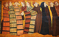 """Gothic  painting """"Pleurants"""" Circa 1295. National Museum of Catalan Art, Barcelona, Spain, inv no: 004372-005. <br /> Part of a set of eight panels. They come from the decoration on the tomb of the knight Sancho Sánchez Carrillo in the chapel of San Andrés de Mahamud (Burgos)."""
