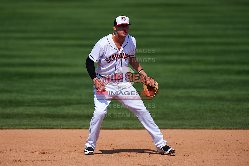 Erie Seawolves shortstop JaCoby Jones (12) during a game against the Harrisburg Senators on August 30, 2015 at Jerry Uht Park in Erie, Pennsylvania.  Harrisburg defeated Erie 4-3.  (Mike Janes/Four Seam Images)