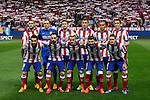 Atletico de Madrid's initial players before quarterfinal first leg Champions League soccer match at Vicente Calderon stadium in Madrid, Spain. April 14, 2015. (ALTERPHOTOS/Victor Blanco)