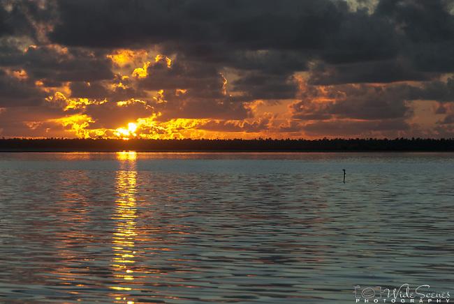 Sunrise over the lagoon on the island of Kiritimati in Kiribati
