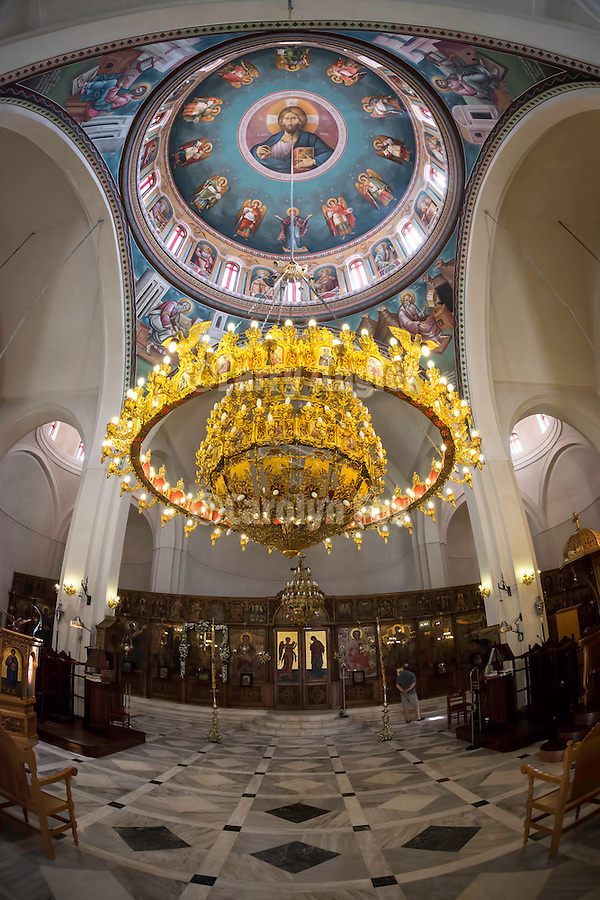 Interior and pantocrator on the dome ceiling, horos,Church of Timiou Stavrou during its slava (celebration of Exaltation of the True Cross), Perissa, Greece