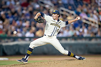Michigan Wolverines pitcher Tommy Henry (47) delivers a pitch to the plate against the Vanderbilt Commodores during Game 1 of the NCAA College World Series Finals on June 24, 2019 at TD Ameritrade Park in Omaha, Nebraska. Michigan defeated Vanderbilt 7-4. (Andrew Woolley/Four Seam Images)