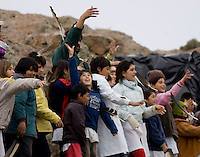 ALUMNOS DE  LA ESCUELA HOGAR NUMERO 69 ¨SIERRA DE PAILEMAN¨,  ARROJAN PLUMAS DE CONDOR ANTES DE LA LIBERACION. SE LIBERARAN TRES CONDORES NACIDOS EN EL ZOO DE BUENOS AIRES,<br /> <br /> <br /> Pupils of near schools throws condor feathers  before the released of young condor birds in Sierra de Paileman, rio Negro provincie, Argentina..Captive-bred condors are later  released in Andes mountain range as part of a program to fight the extinction of the largest bird of Western Hemisphere, also called the King of the Andes.For indigenous people, condor are a symbol of the Andean culture