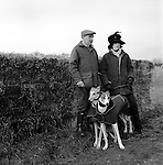 Hare Coursing. Cliff Standing and daughter Caroline with their greyhounds wait for a signal to walk their hounds down to the starting position during the Greyhound 2000 Meet. Near Six Mile Bottom, Newmarket, Suffolk. Photograph is of trainer and owner Cliff Standing.