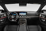 Stock photo of straight dashboard view of 2021 Mercedes Benz E-Class 53-AMG 5 Door Wagon Dashboard