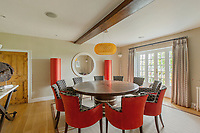 BNPS.co.uk (01202) 558833. <br /> Pic: Savills/BNPS<br /> <br /> Pictured: Dining room. <br /> <br /> A wheely rare opportunity...<br /> <br /> A grand country manor with a 300-year-old donkey wheel is on the market for £4.95m.<br /> <br /> The donkey wheel at Annables Manor, one of only two still in existence in England, was built in the 17th century and used to draw water from the 145ft well.<br /> <br /> The Grade II listed manor house near Harpenden, Herts, is one of the finest country houses in the area and as well as its unusual historic feature it has a heated swimming pool and tennis court in its 5.34 acres of land.<br /> <br /> The seven-bedroom home has lots of impressive features including oak beams, open fireplaces and solid oak floors.