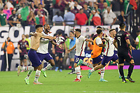 LAS VEGAS, NV - AUGUST 1: USMNT players including Kellyn Acosta #23 celebrate after a game between Mexico and USMNT at Allegiant Stadium on August 1, 2021 in Las Vegas, Nevada.