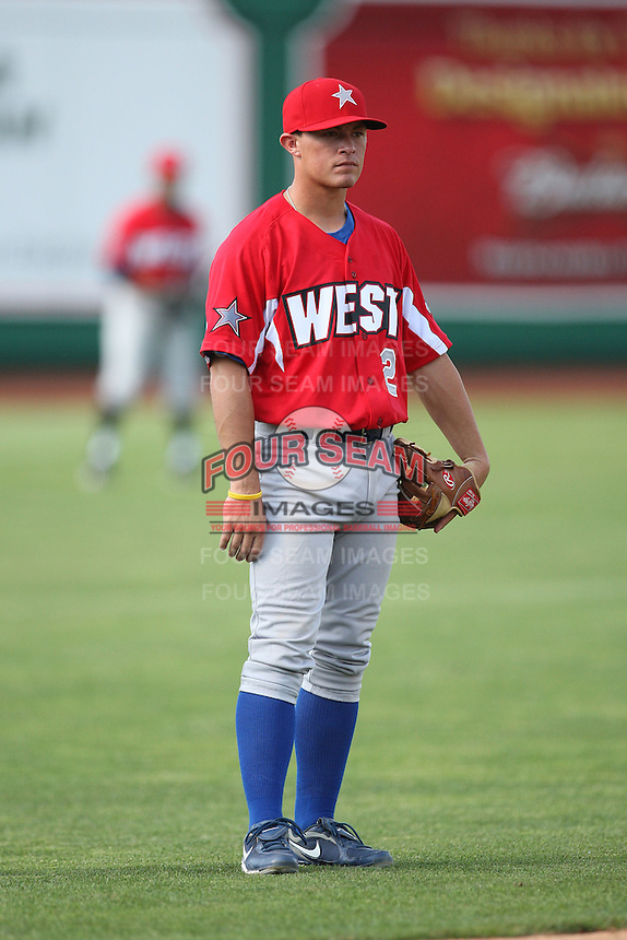 Peoria Chiefs Matt Cerda during the Midwest League All Star Game at Parkview Field in Fort Wayne, IN. June 22, 2010. Photo By Chris Proctor/Four Seam Images