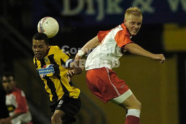 veendam - fc dordrecht jupiler league seizoen 2007-2008 17-09-2007  angelo zimmerman wint kopduel van van der velden