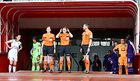Players and assistant referee Joline Delcroix, referee Viki De Cremer and assistant referee Jean-Christophe Henry are pictured at the tunnel before a female soccer game between RSC Anderlecht Dames and Oud Heverlee Leuven on the seventh matchday of play off 1 of the 2020 - 2021 season of Belgian Womens Super League , saturday 15 th of May 2021  in Brussels , Belgium . PHOTO SPORTPIX.BE | SPP | SEVIL OKTEM