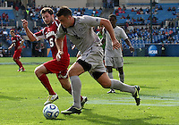 HOOVER, AL - DECEMBER 09, 2012: Matt McKain (5) of Indiana University defends against Brandon Allen (10) of Georgetown University during the NCAA 2012 Men's College Cup championship, at Regions Park, in Hoover , AL, on Sunday, December 09, 2012.