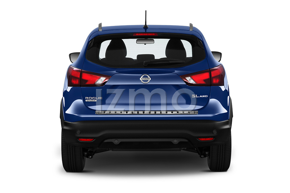 Straight rear view of a 2019 Nissan Rogue Sport SL 5 Door SUV stock images