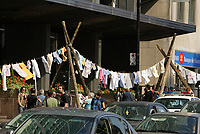 Montreal (Qc) CANADA, September 14, 2007 -<br /> <br /> PROTEST IN FRONT OF HYDRO-QUEBEC HEADQUARTERS: A CLOTHESLINE<br />  is RAISED TO SAVE THE RUPERT RIVER<br />  In front of the office of Hydro-QuŽbec Headquarters (               75 Rene-Levesque Blvd West , Montreal ),<br /> September 14, 2007<br /> <br /> photo : Pierre Roussel (c)  Images Distribution