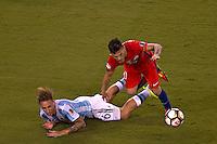 Action photo during the match Argentina vs Chile corresponding to the Final of America Cup Centenary 2016, at MetLife Stadium.<br /> <br /> Foto durante al partido Argentina vs Chile cprresponidente a la Final de la Copa America Centenario USA 2016 en el Estadio MetLife , en la foto:(i-d) Lucas Biglia de Argentina y Charles Aranguiz de Chile<br /> <br /> <br /> 26/06/2016/MEXSPORT/JAVIER RAMIREZ